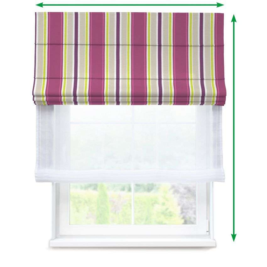 Voile and fabric roman blind (DUO II) in collection Fleur , fabric: 137-22