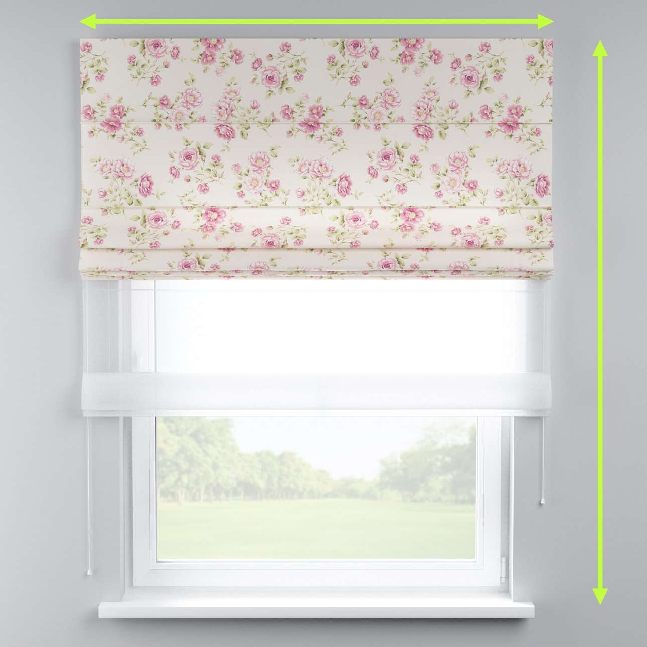Voile and fabric roman blind (DUO II) in collection Ashley, fabric: 137-43