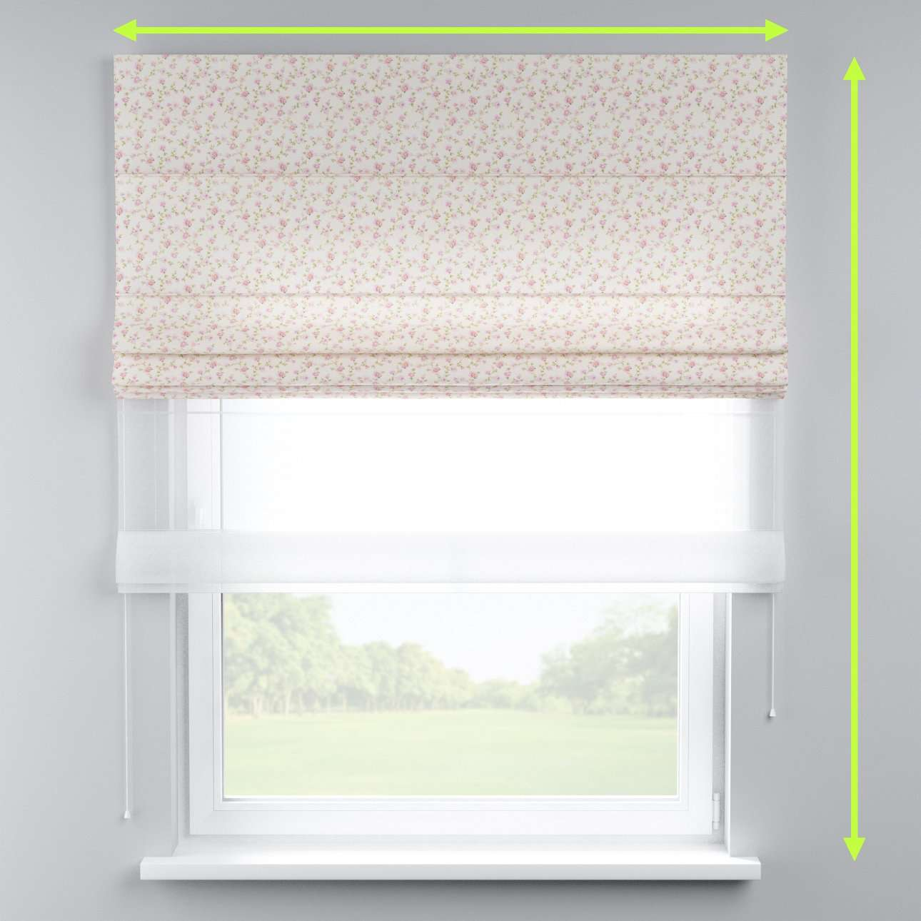 Voile and fabric roman blind (DUO II) in collection Ashley, fabric: 137-45