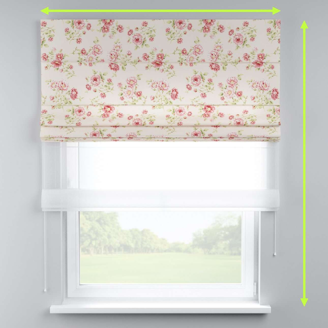 Voile and fabric roman blind (DUO II) in collection Ashley, fabric: 137-47