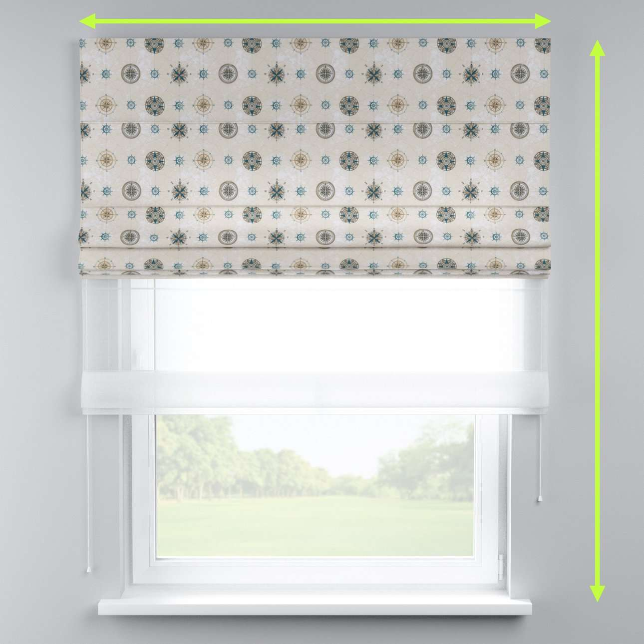Voile and fabric roman blind (DUO II) in collection Freestyle, fabric: 137-63