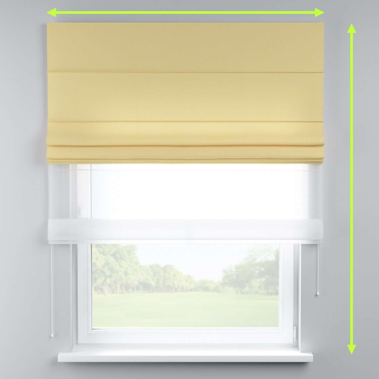 Voile and fabric roman blind (DUO II) in collection Ashley, fabric: 137-66