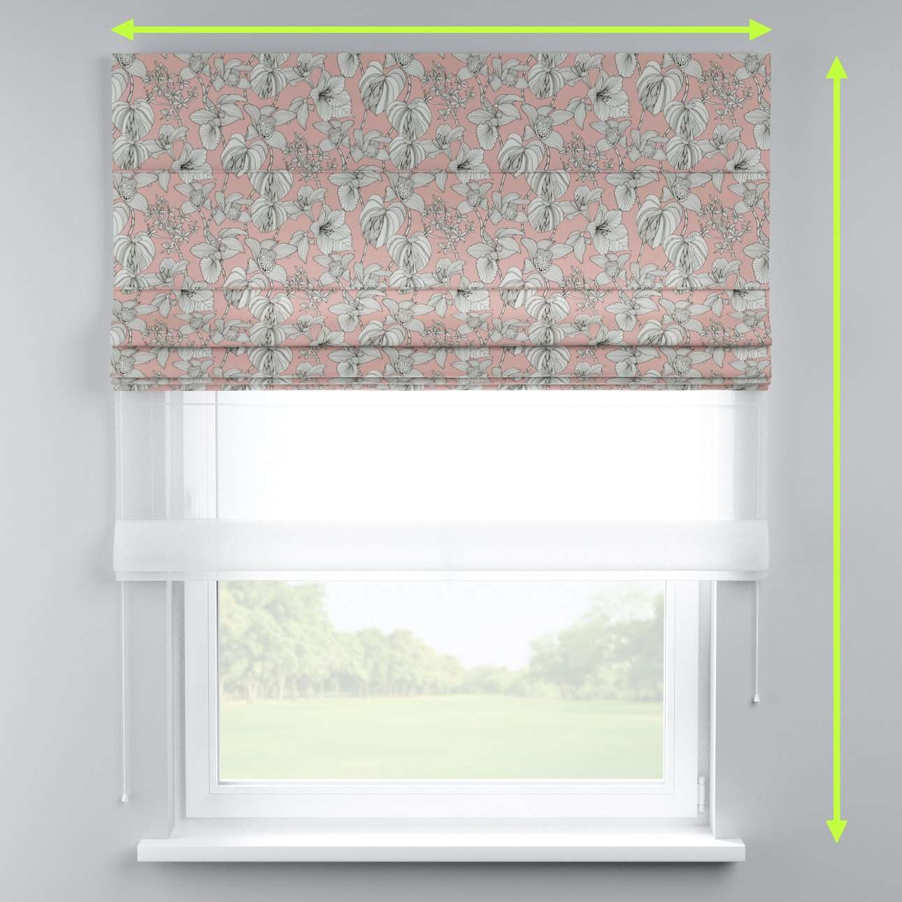 Voile and fabric roman blind (DUO II) in collection Brooklyn, fabric: 137-74