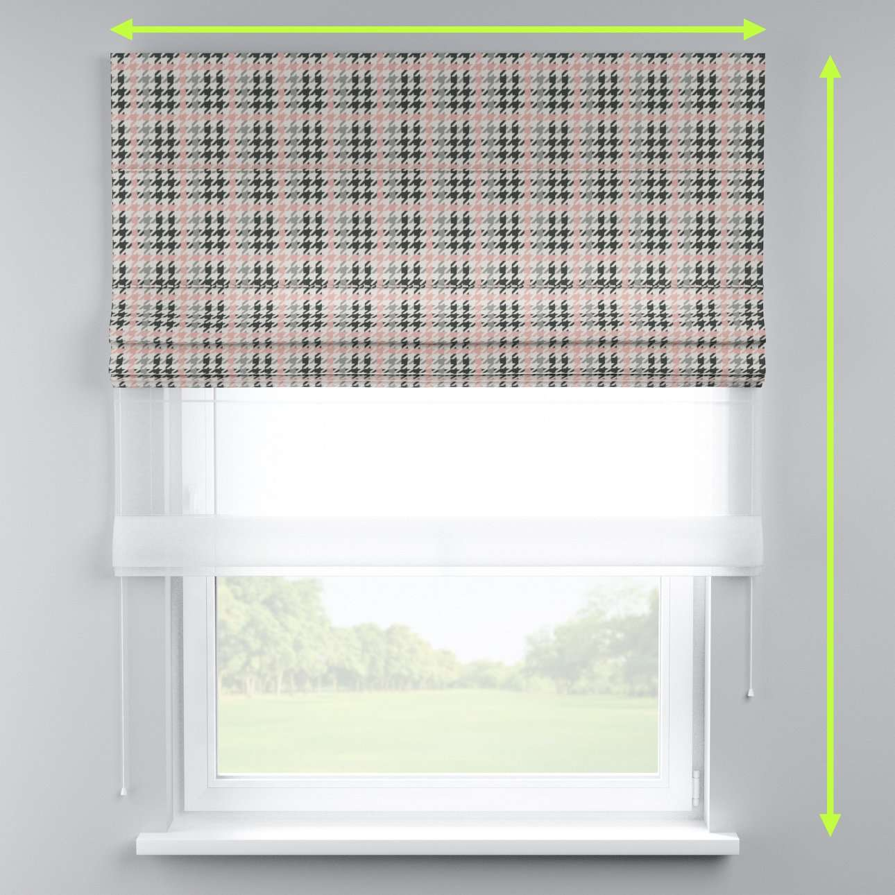 Voile and fabric roman blind (DUO II) in collection Brooklyn, fabric: 137-75