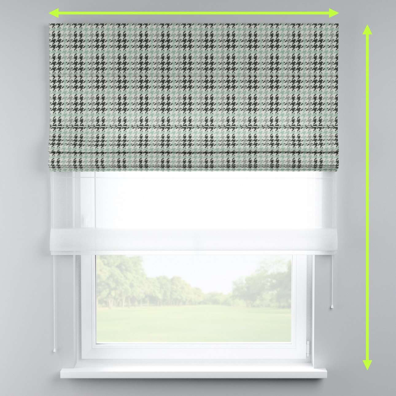 Voile and fabric roman blind (DUO II) in collection Brooklyn, fabric: 137-77