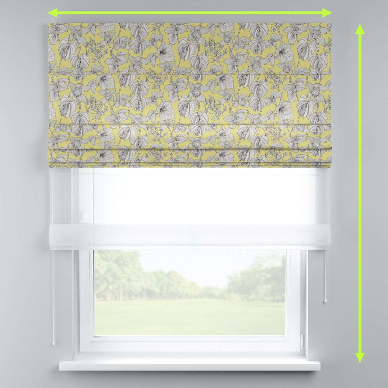 Voile and fabric roman blind (DUO II) in collection Brooklyn, fabric: 137-78