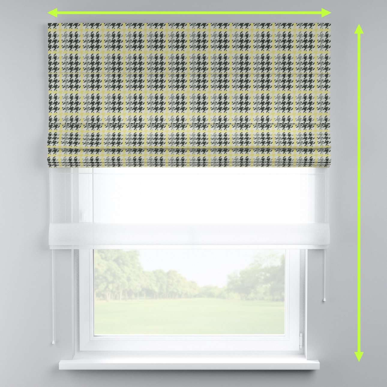 Voile and fabric roman blind (DUO II) in collection Brooklyn, fabric: 137-79