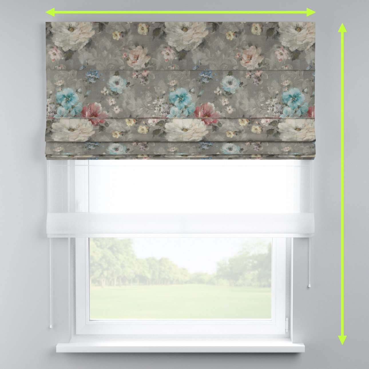 Voile and fabric roman blind (DUO II) in collection Monet, fabric: 137-81