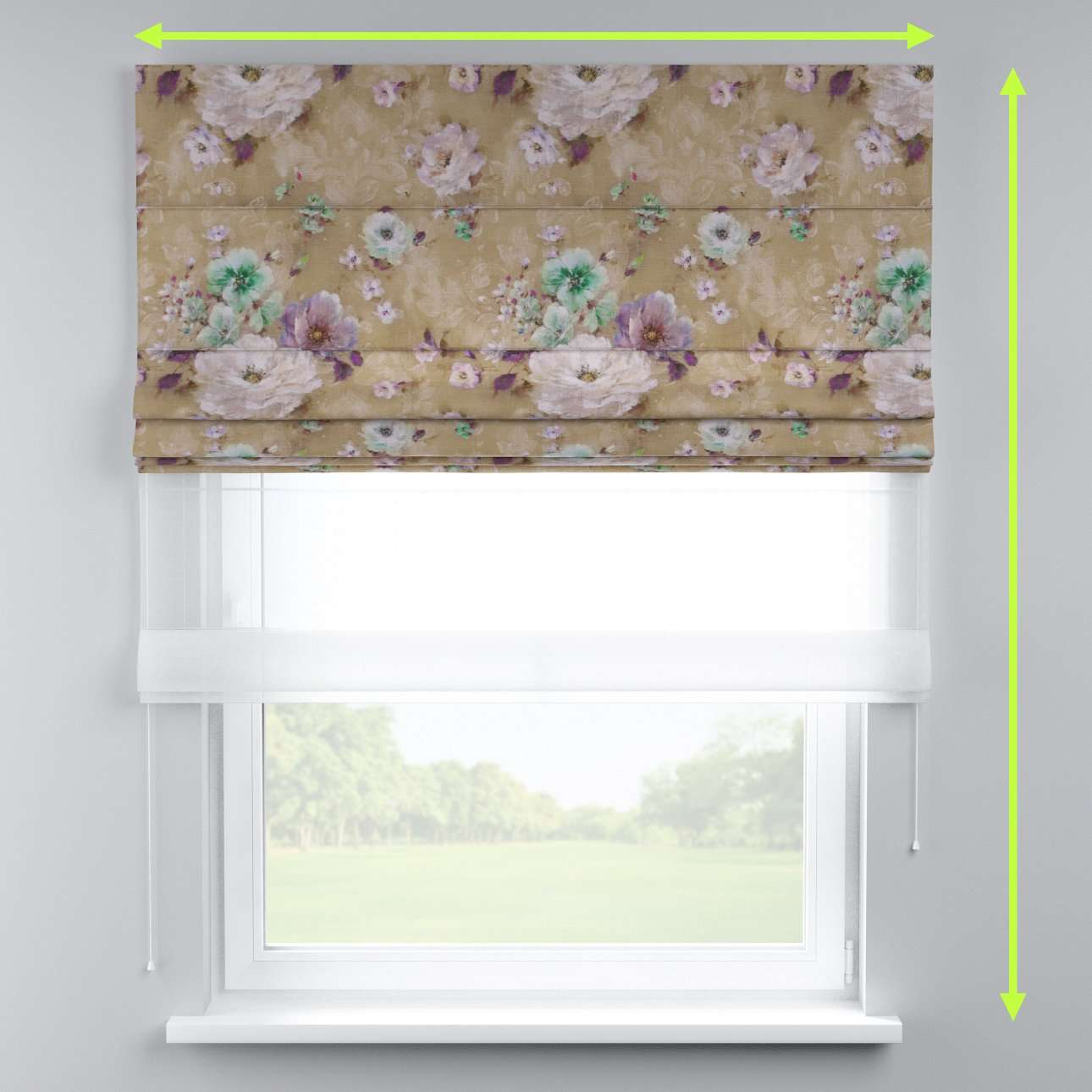 Voile and fabric roman blind (DUO II) in collection Monet, fabric: 137-82
