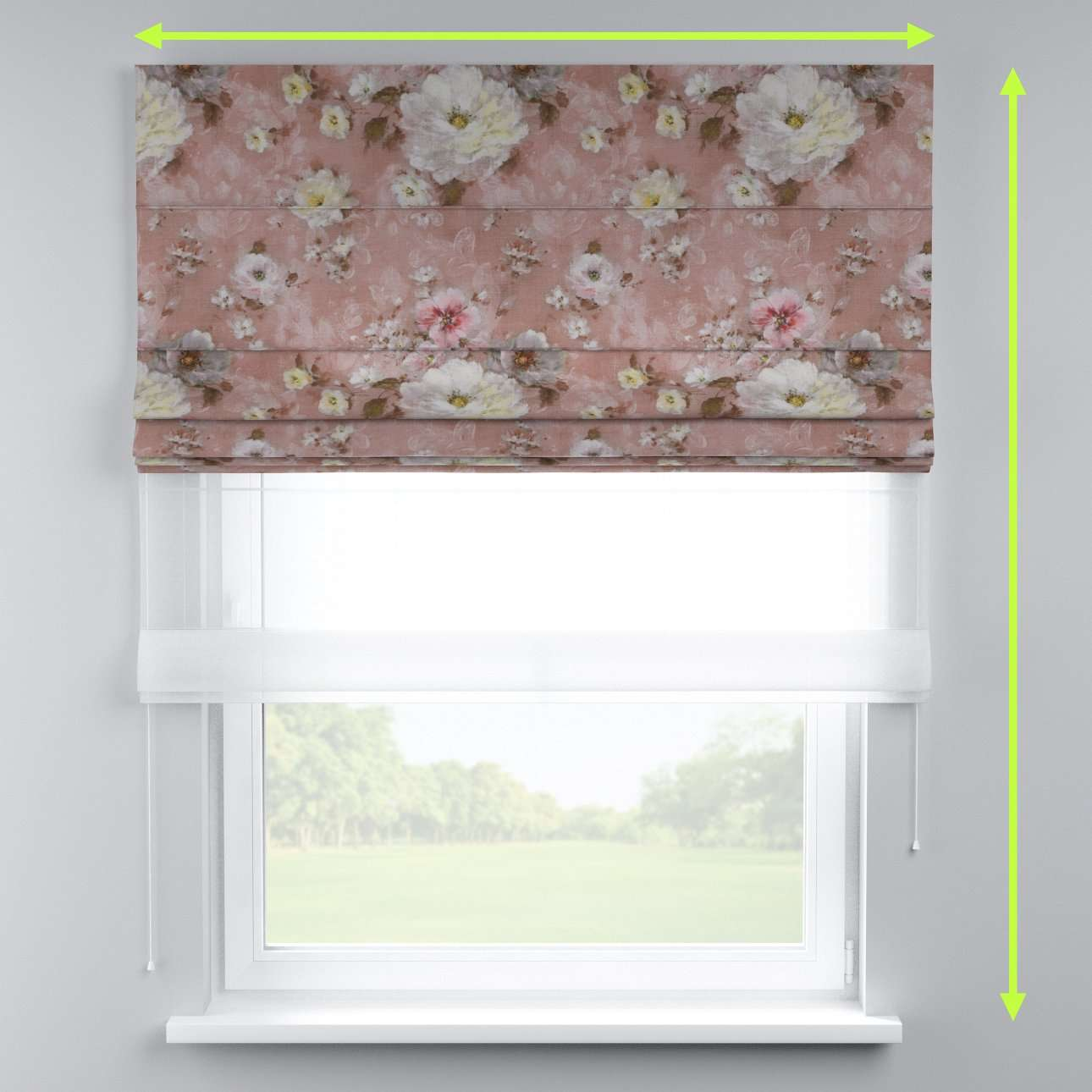 Voile and fabric roman blind (DUO II) in collection Monet, fabric: 137-83