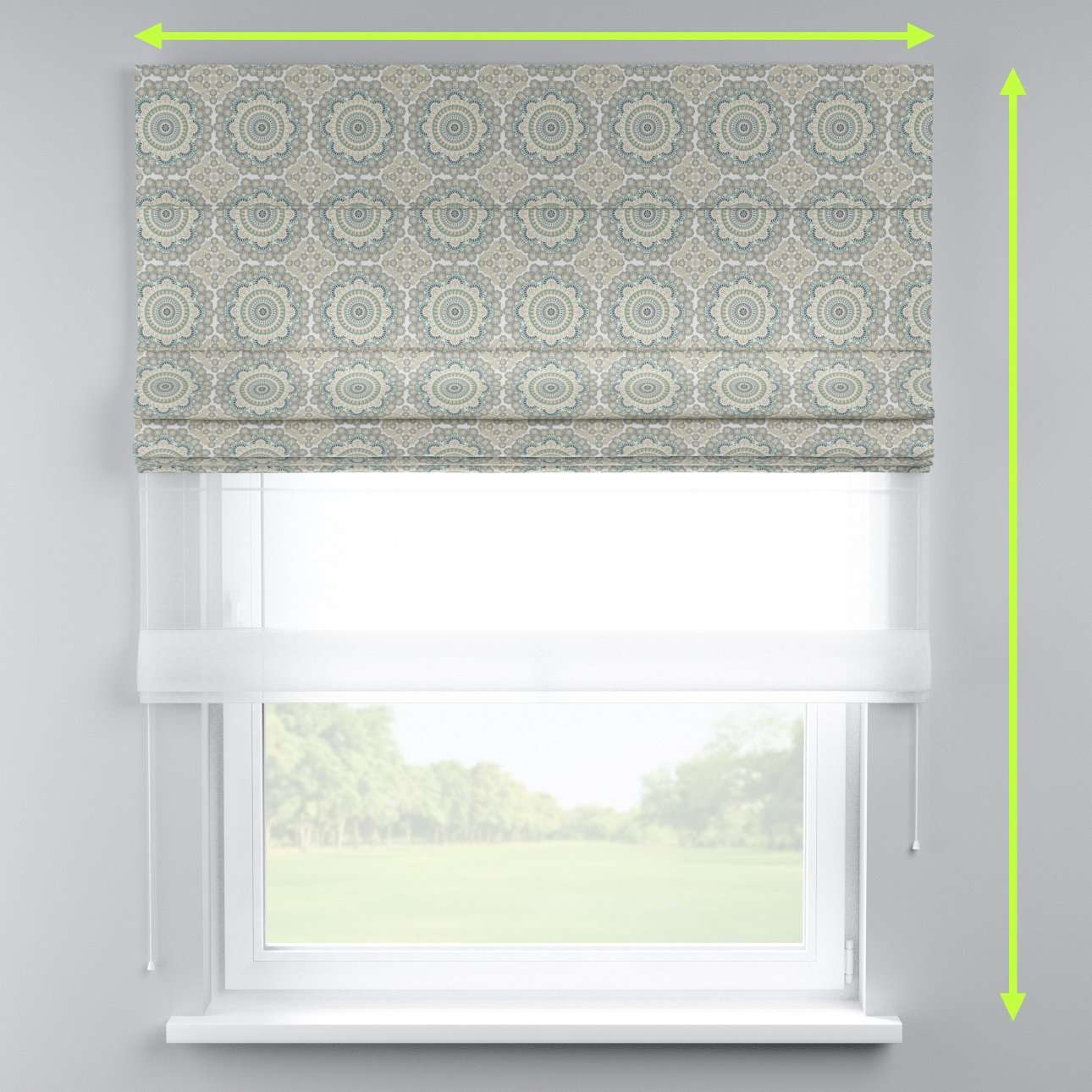 Voile and fabric roman blind (DUO II) in collection Comic Book & Geo Prints, fabric: 137-84