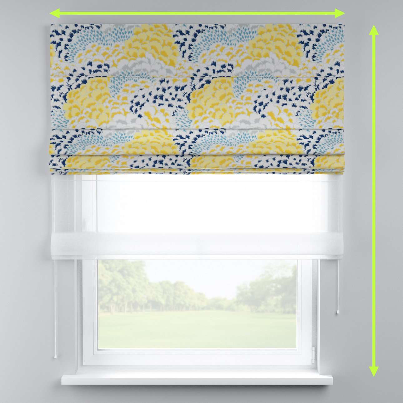 Voile and fabric roman blind (DUO II) in collection Brooklyn, fabric: 137-86