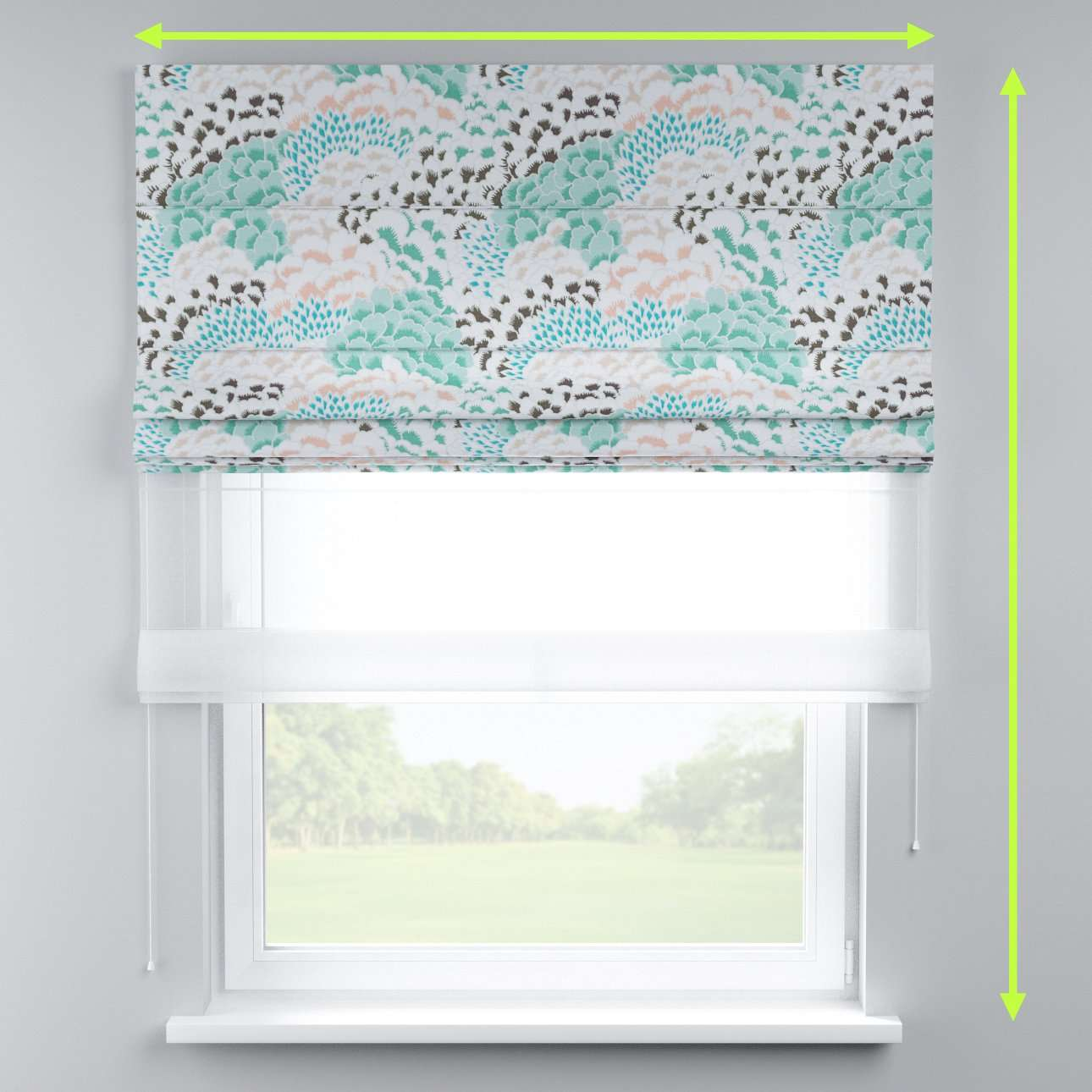 Voile and fabric roman blind (DUO II) in collection Brooklyn, fabric: 137-89