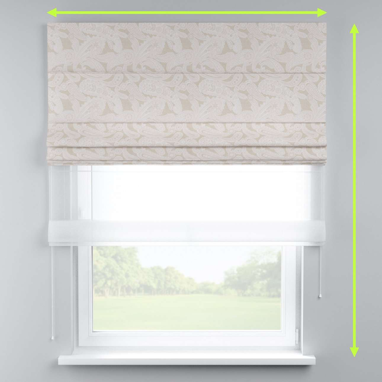Voile and fabric roman blind (DUO II) in collection Rustica, fabric: 138-10