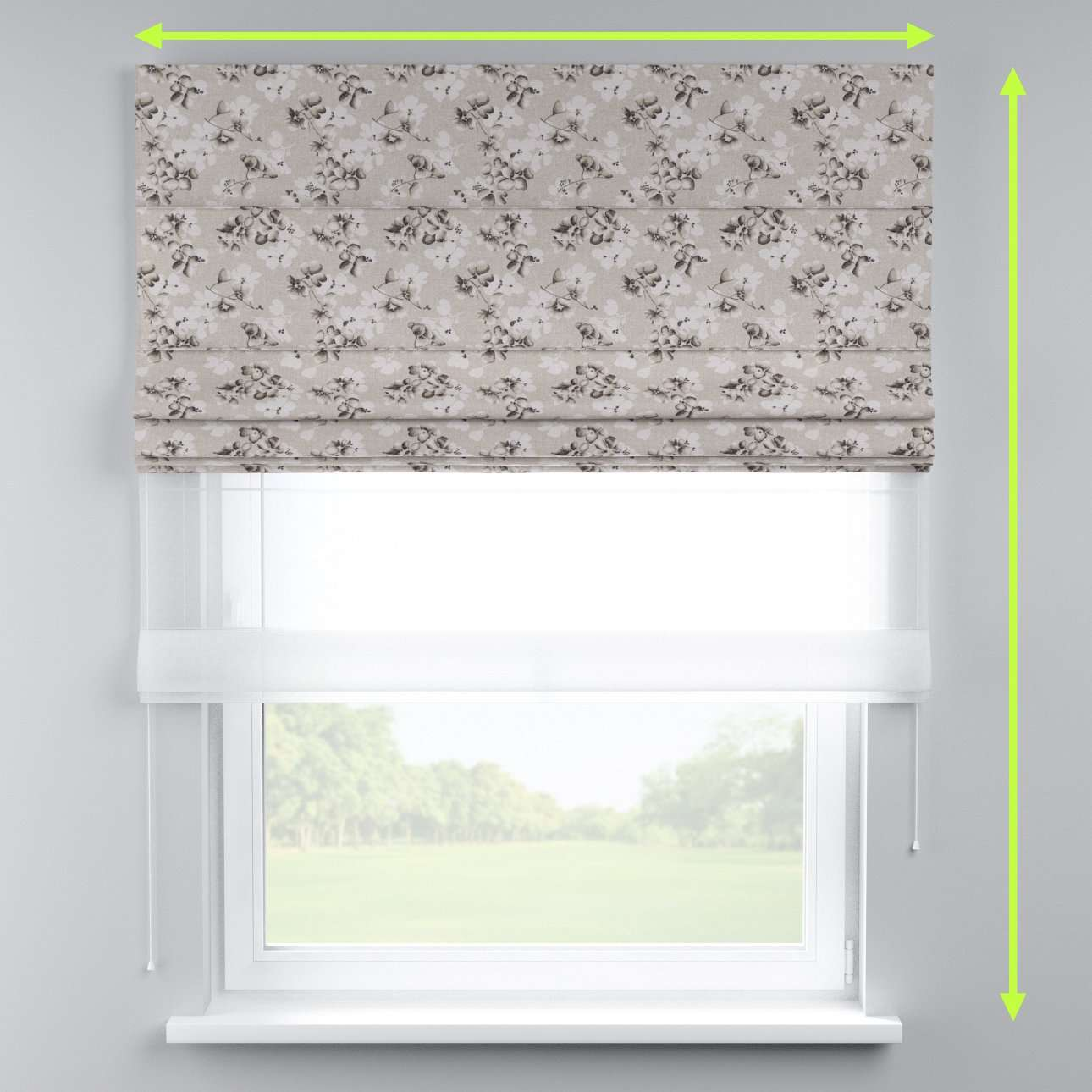Voile and fabric roman blind (DUO II) in collection Rustica, fabric: 138-14