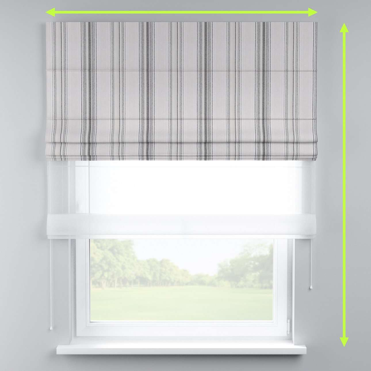 Voile and fabric roman blind (DUO II) in collection Rustica, fabric: 138-15
