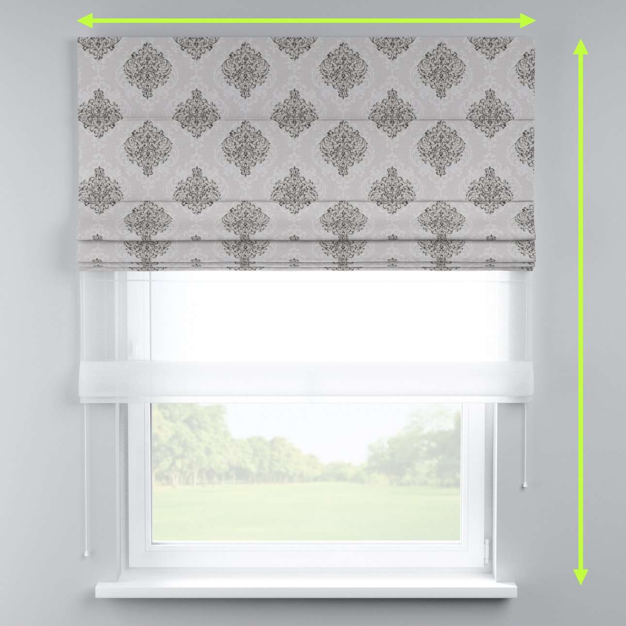 Voile and fabric roman blind (DUO II) in collection Rustica, fabric: 138-16