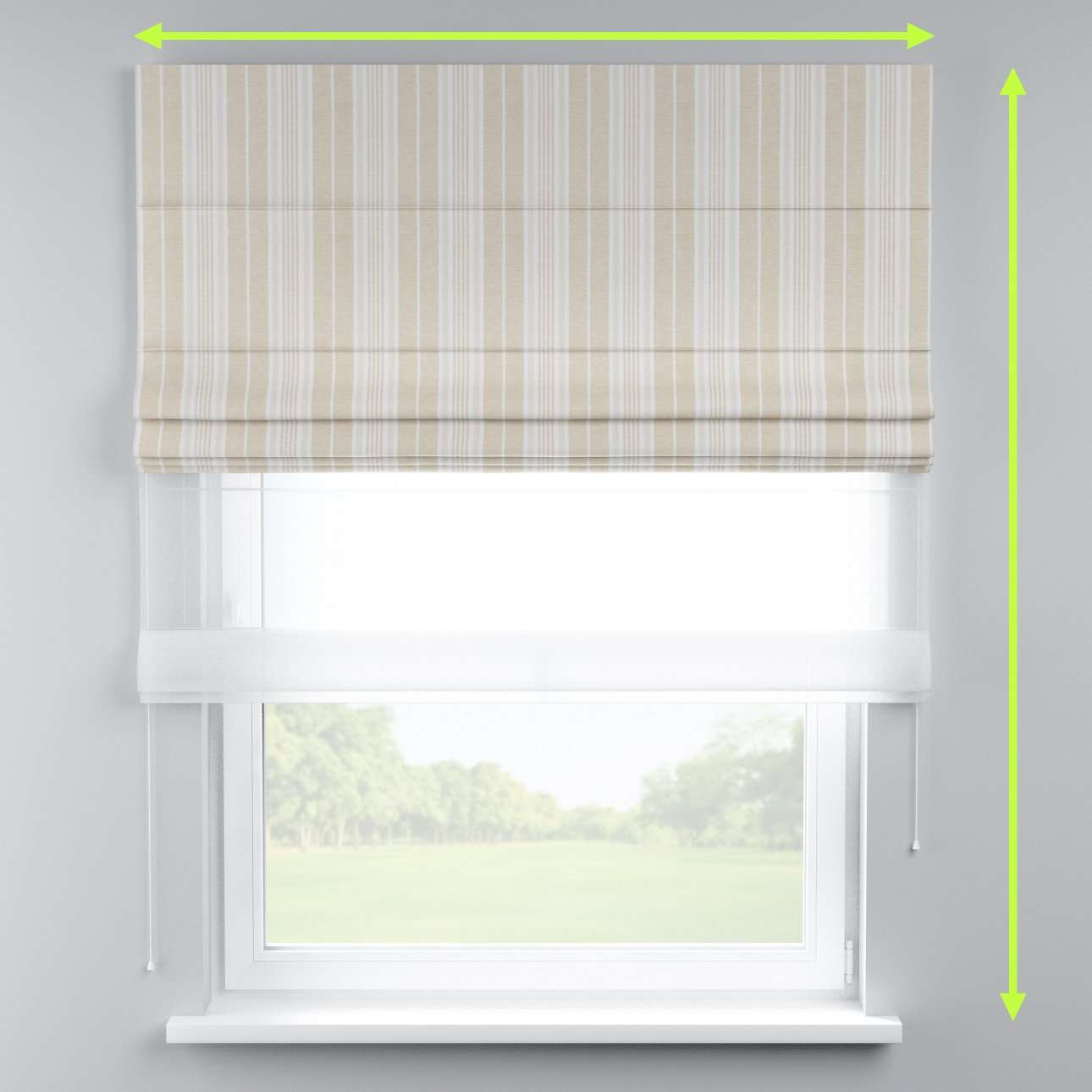 Voile and fabric roman blind (DUO II) in collection Rustica, fabric: 138-24