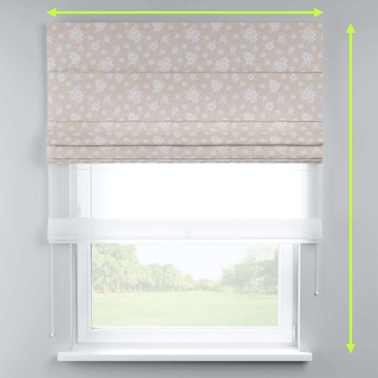 Voile and fabric roman blind (DUO II) in collection Rustica, fabric: 138-26