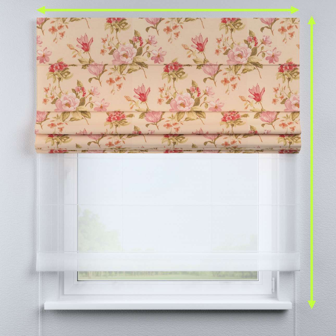 Voile and fabric roman blind (DUO II)  in collection Londres, fabric: 123-05