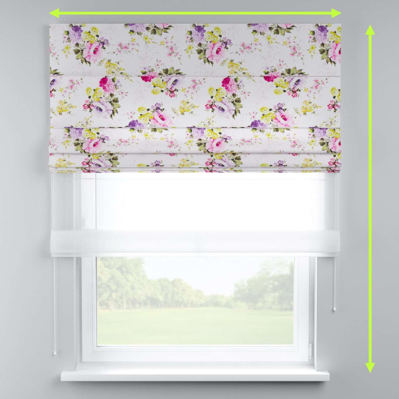 Voile and fabric roman blind (DUO II) in collection Monet, fabric: 140-00
