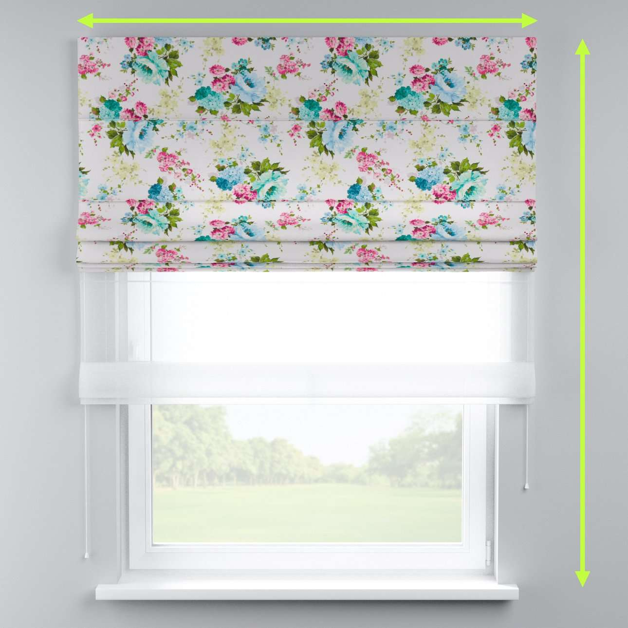 Voile and fabric roman blind (DUO II) in collection Monet, fabric: 140-02