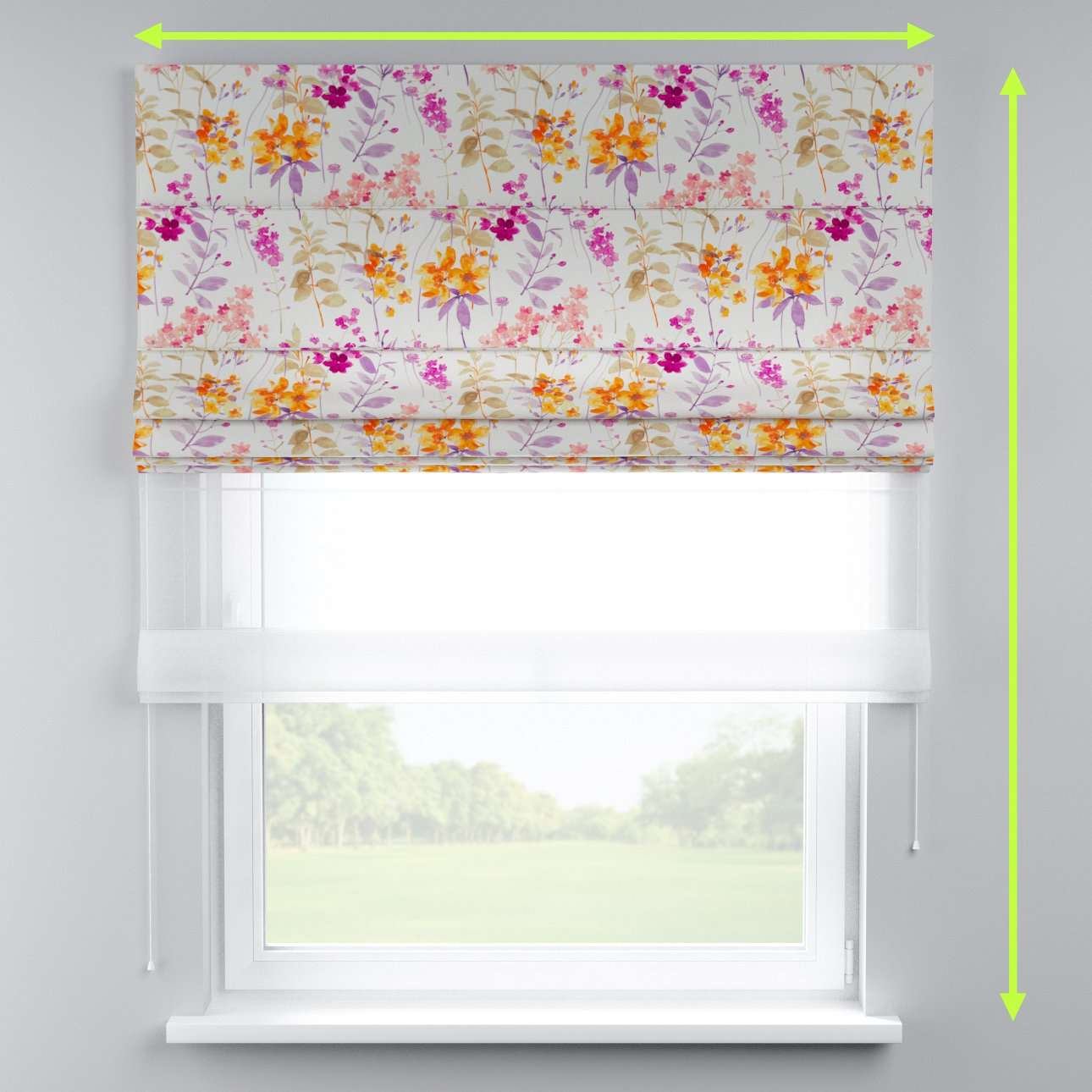 Voile and fabric roman blind (DUO II) in collection Monet, fabric: 140-04