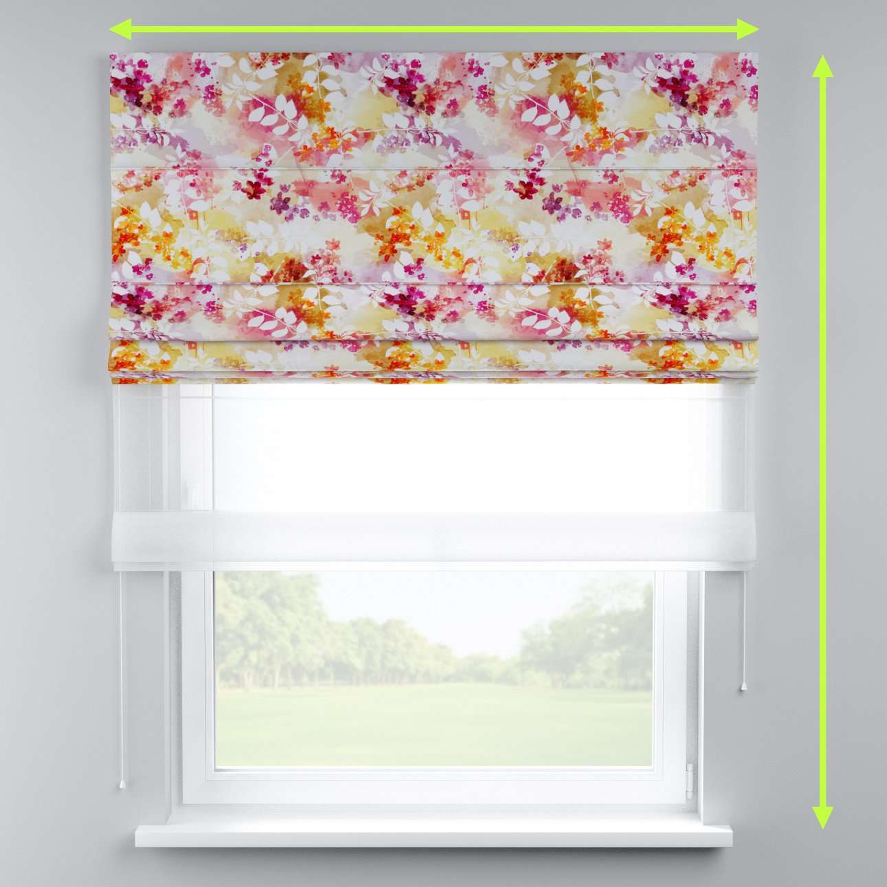 Voile and fabric roman blind (DUO II) in collection Monet, fabric: 140-05