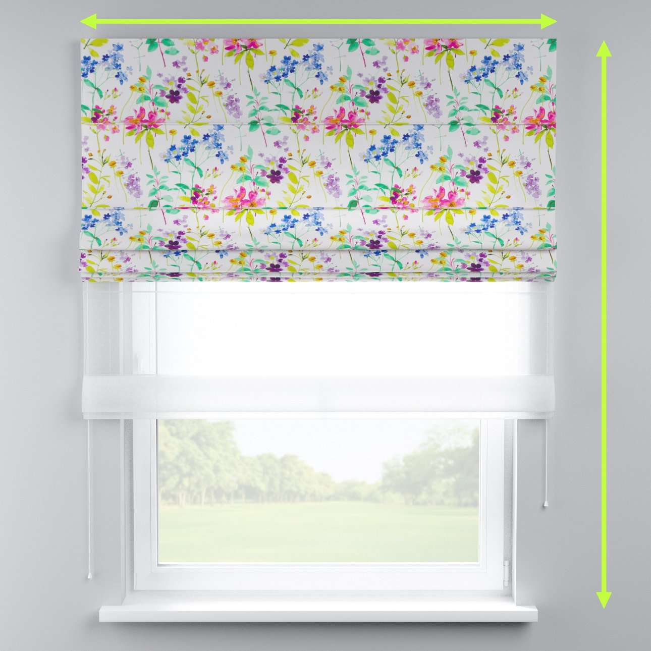 Voile and fabric roman blind (DUO II) in collection Monet, fabric: 140-06