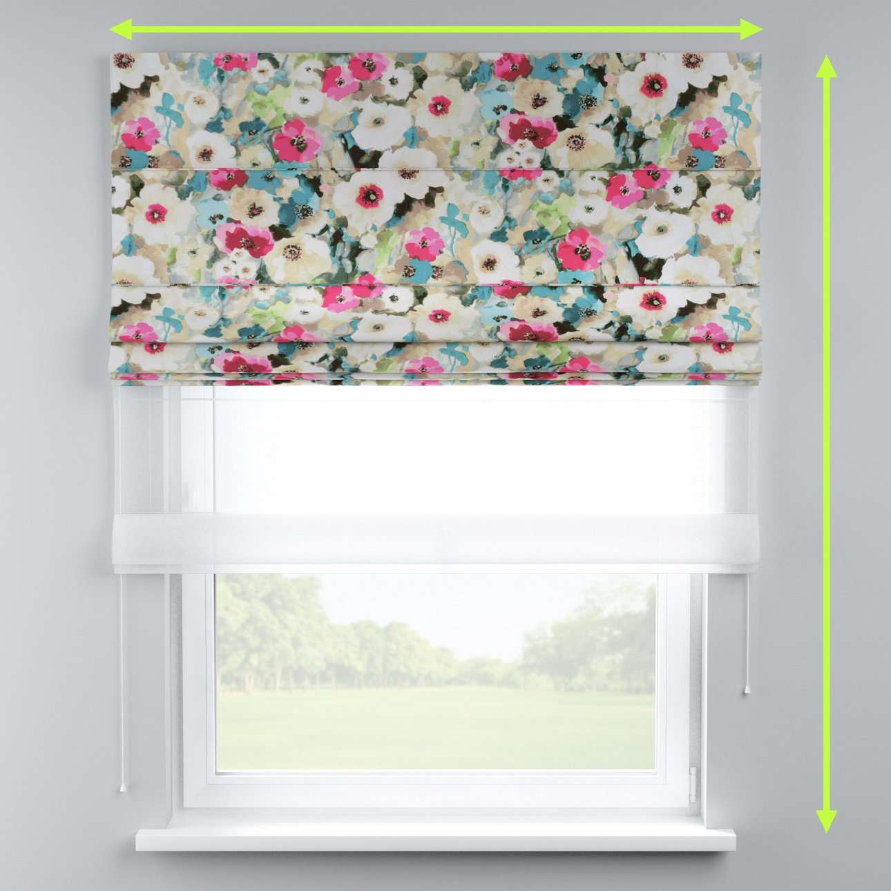 Voile and fabric roman blind (DUO II) in collection Monet, fabric: 140-08