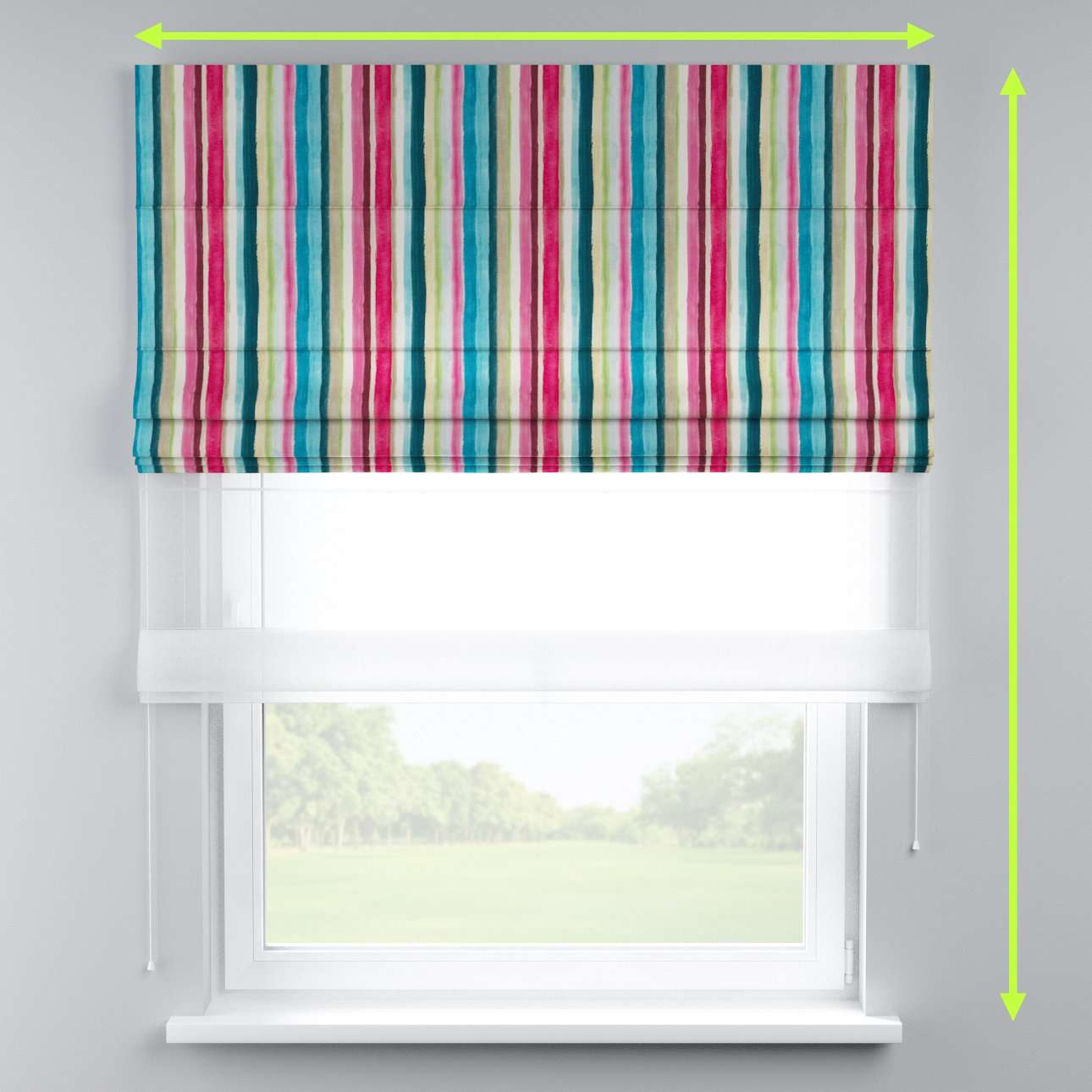 Voile and fabric roman blind (DUO II) in collection Monet, fabric: 140-09