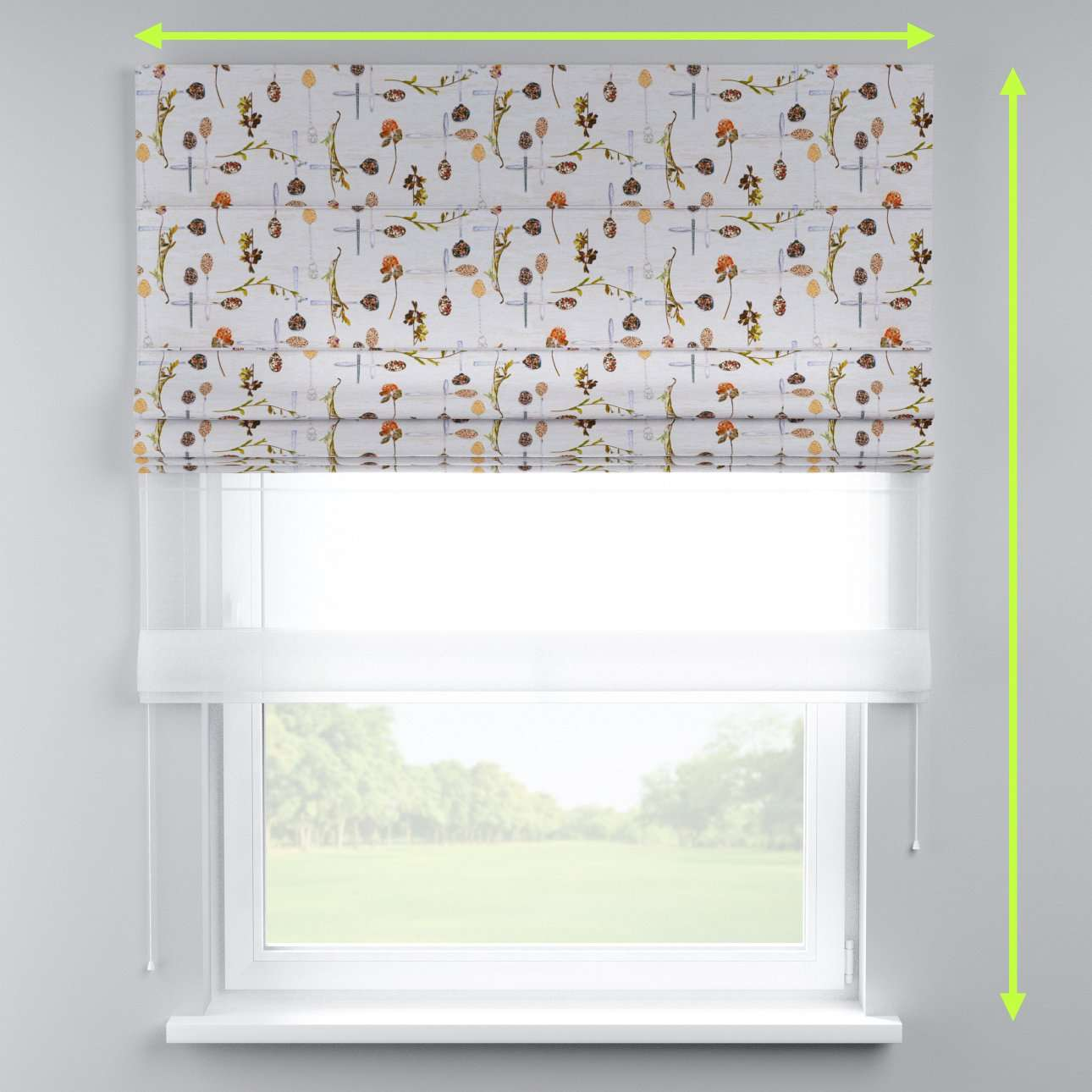 Voile and fabric roman blind (DUO II) in collection Flowers, fabric: 140-11