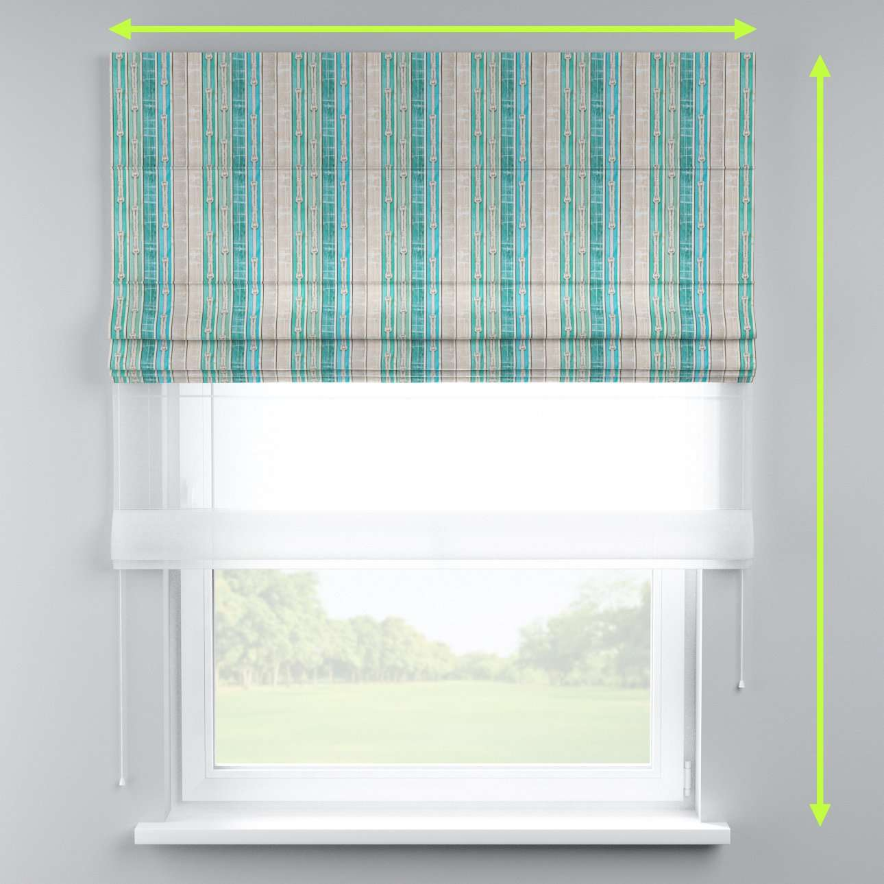 Voile and fabric roman blind (DUO II) in collection Marina, fabric: 140-14