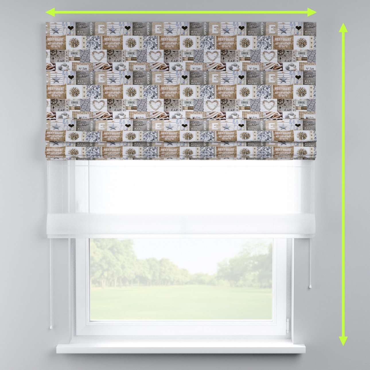 Voile and fabric roman blind (DUO II) in collection Marina, fabric: 140-15