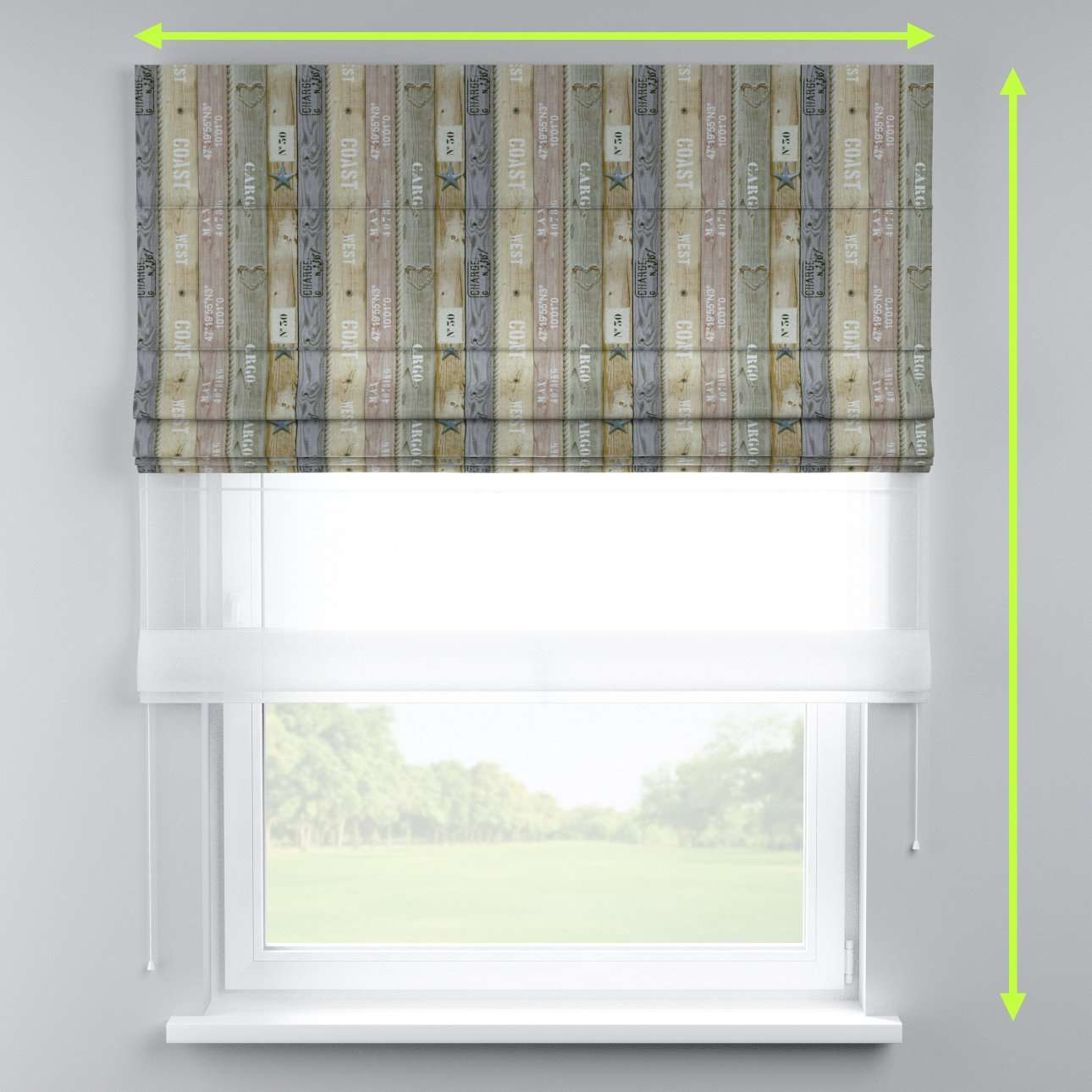 Voile and fabric roman blind (DUO II) in collection Marina, fabric: 140-16