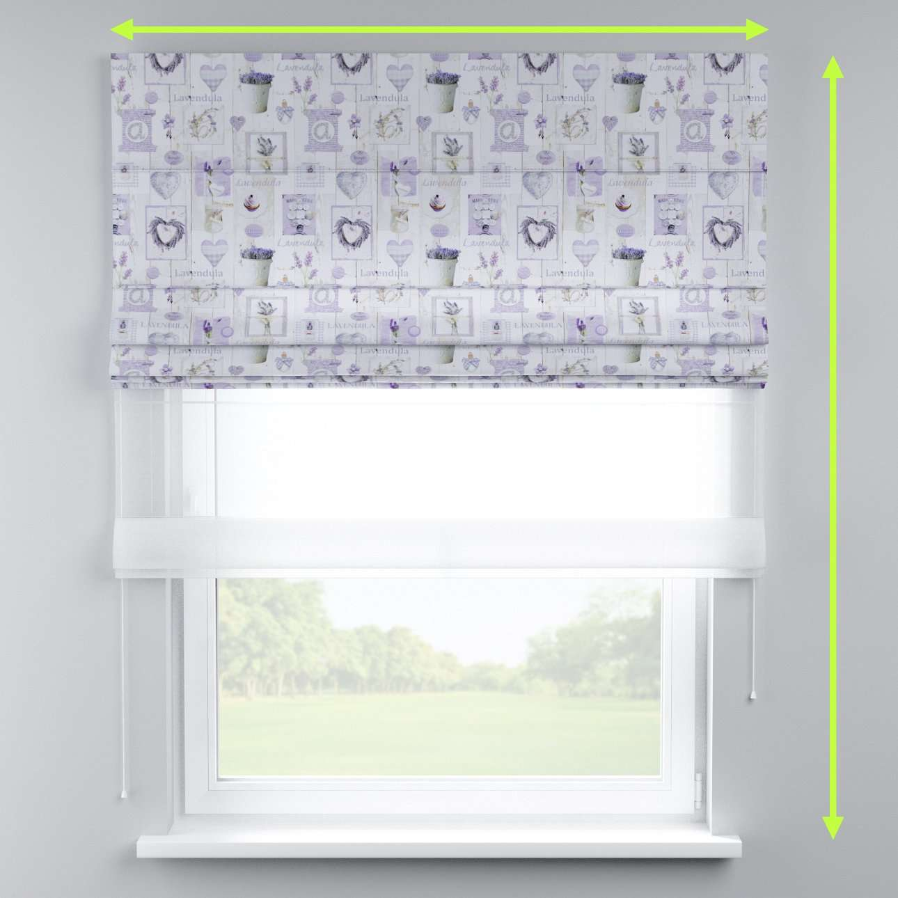 Voile and fabric roman blind (DUO II) in collection Ashley, fabric: 140-18