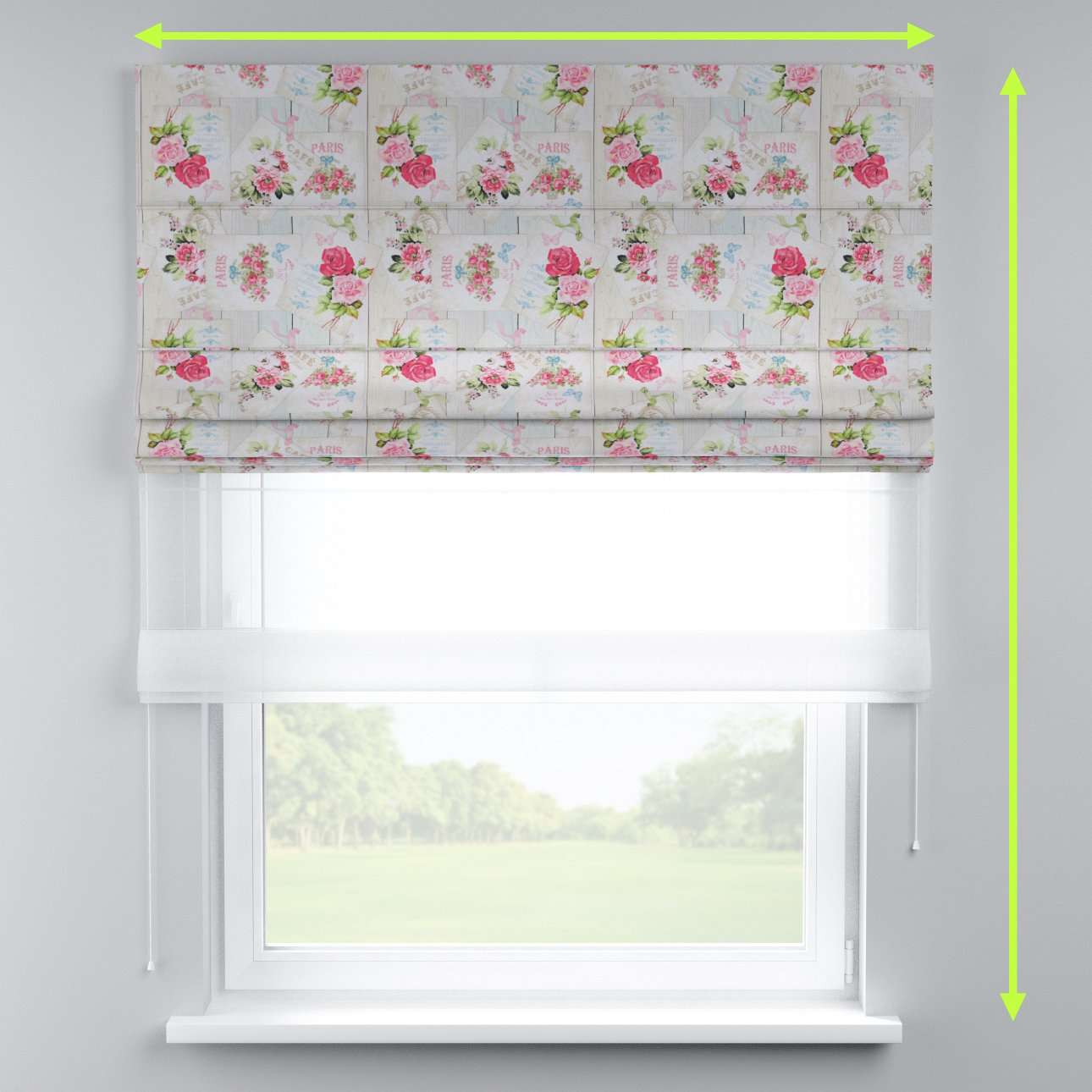Voile and fabric roman blind (DUO II) in collection Ashley, fabric: 140-19