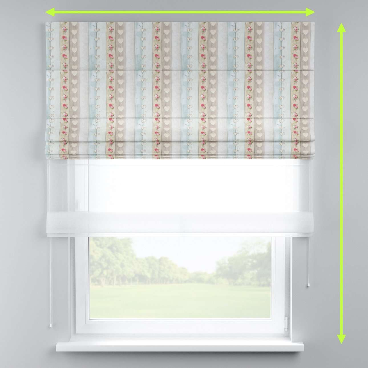 Voile and fabric roman blind (DUO II) in collection Ashley, fabric: 140-20