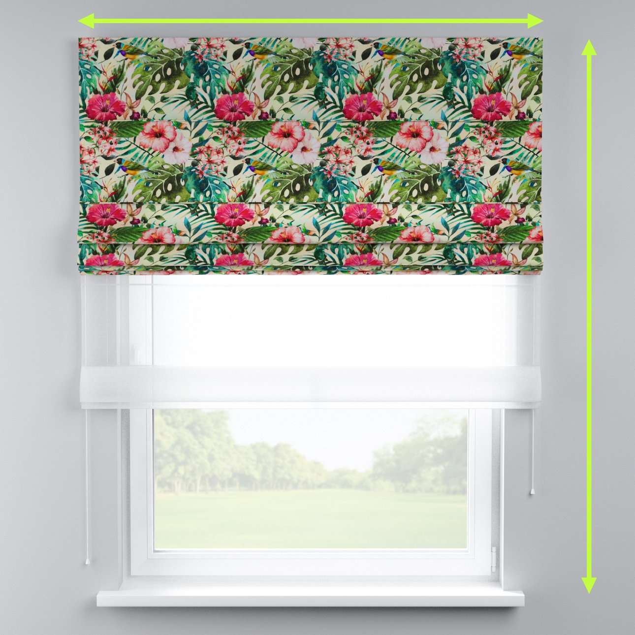 Voile and fabric roman blind (DUO II) in collection New Art, fabric: 140-21