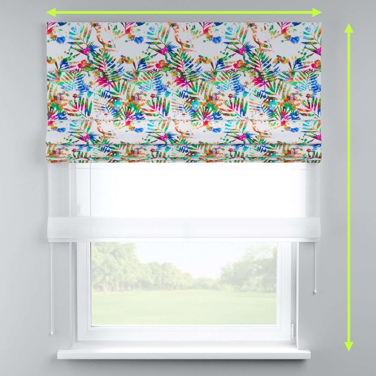 Voile and fabric roman blind (DUO II) in collection New Art, fabric: 140-22