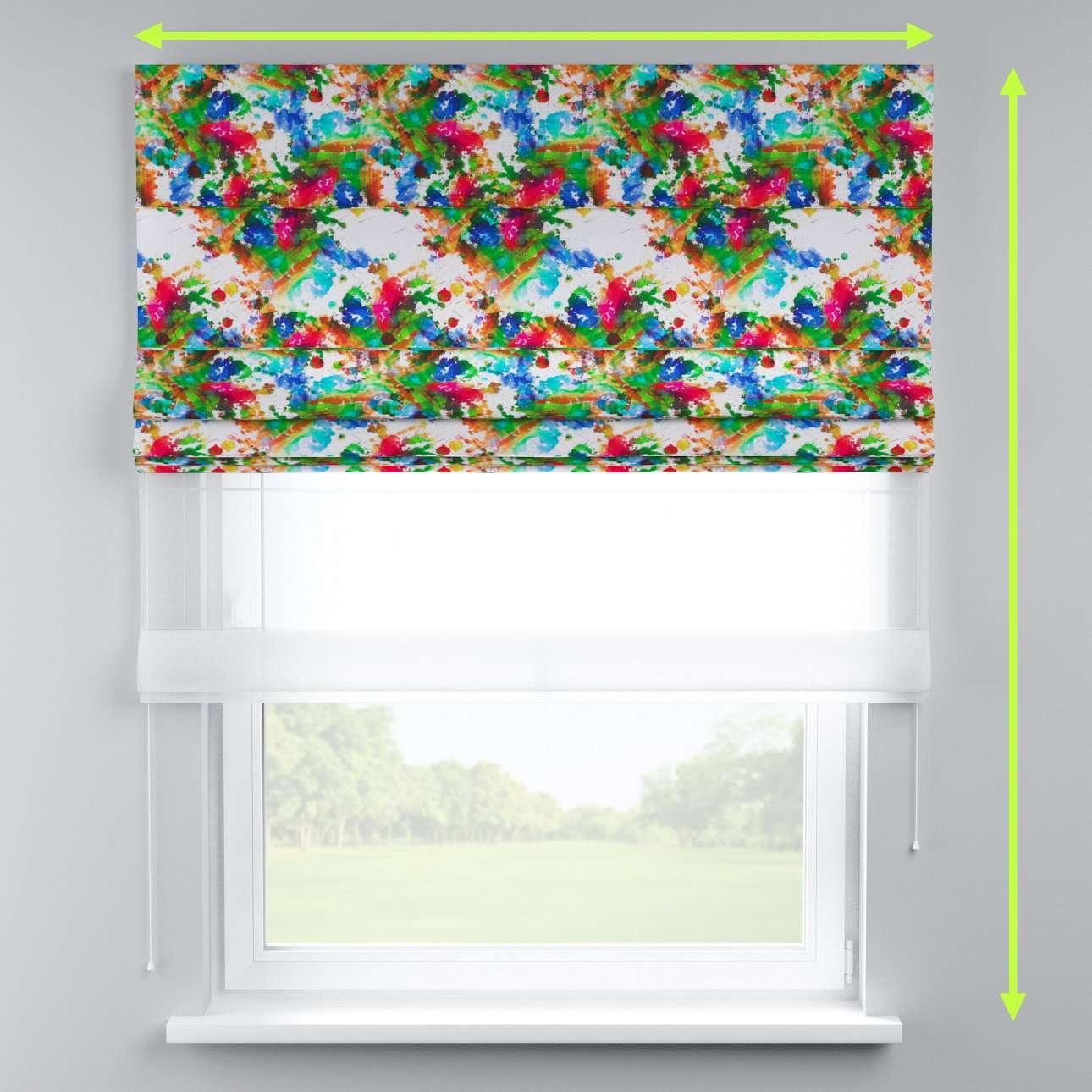 Voile and fabric roman blind (DUO II) in collection New Art, fabric: 140-23