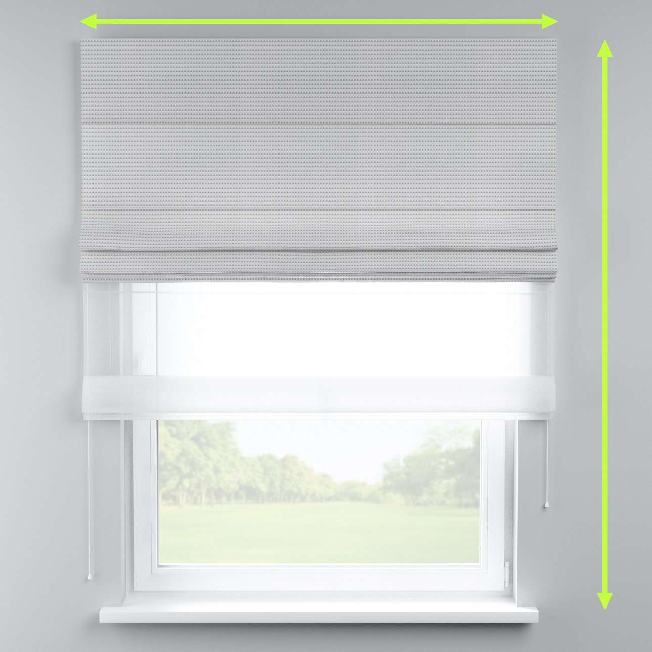 Voile and fabric roman blind (DUO II) in collection Rustica, fabric: 140-31