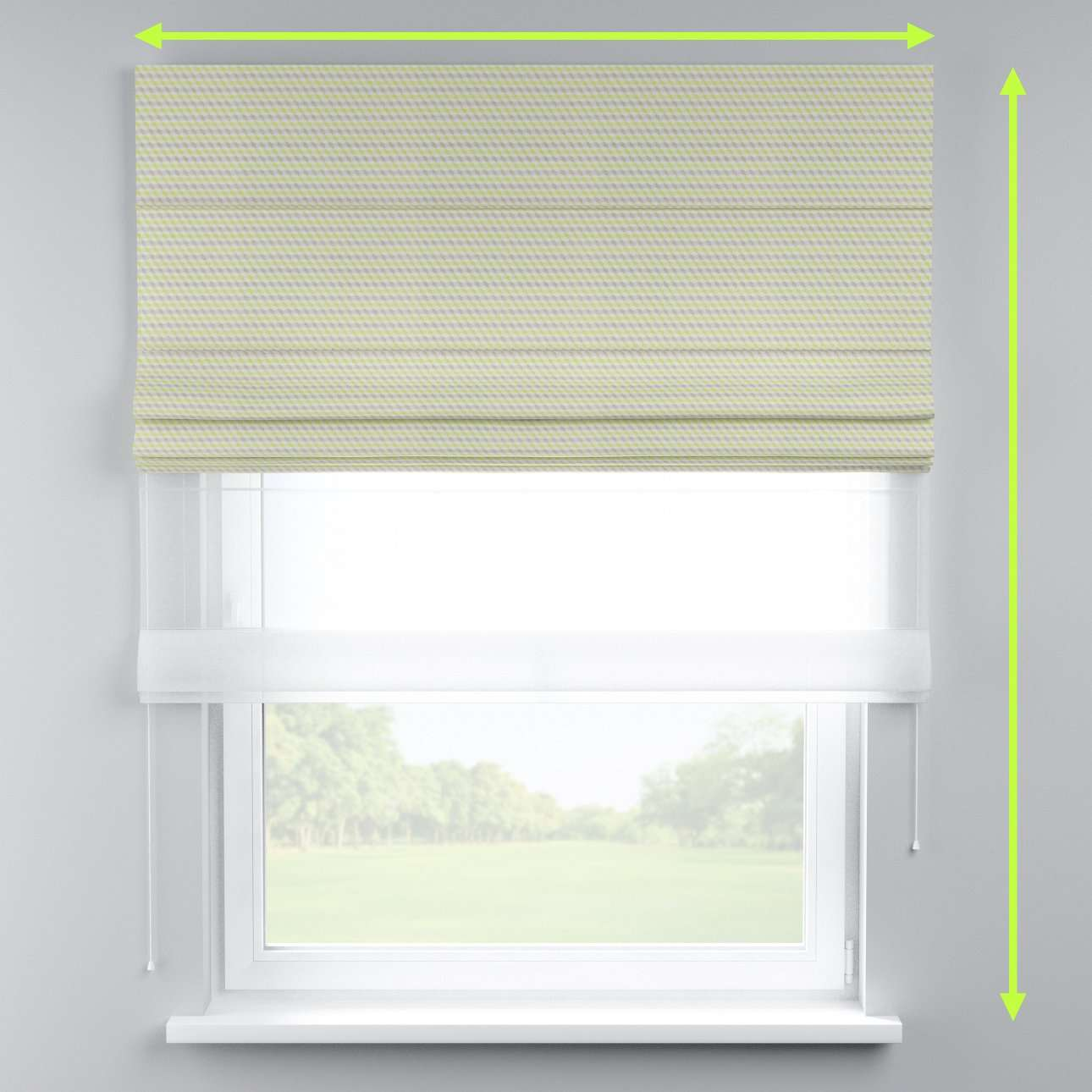 Voile and fabric roman blind (DUO II) in collection Rustica, fabric: 140-36