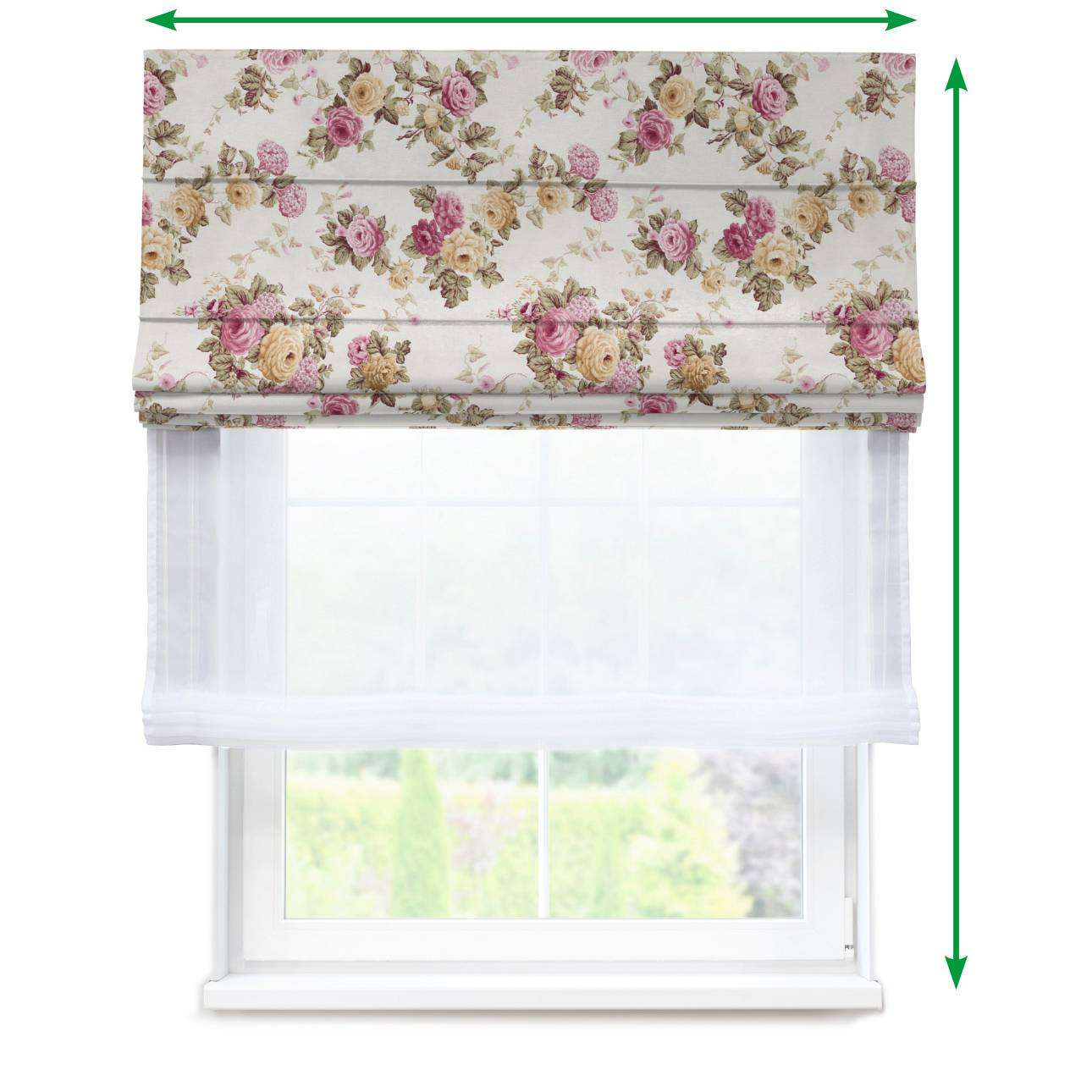 Voile and fabric roman blind (DUO II) in collection Mirella, fabric: 140-40