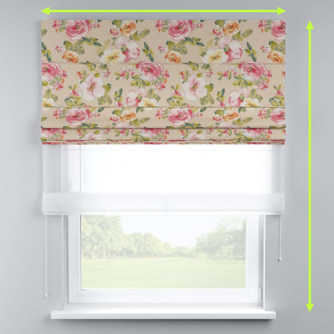 Voile and fabric roman blind (DUO II) in collection Londres, fabric: 140-43
