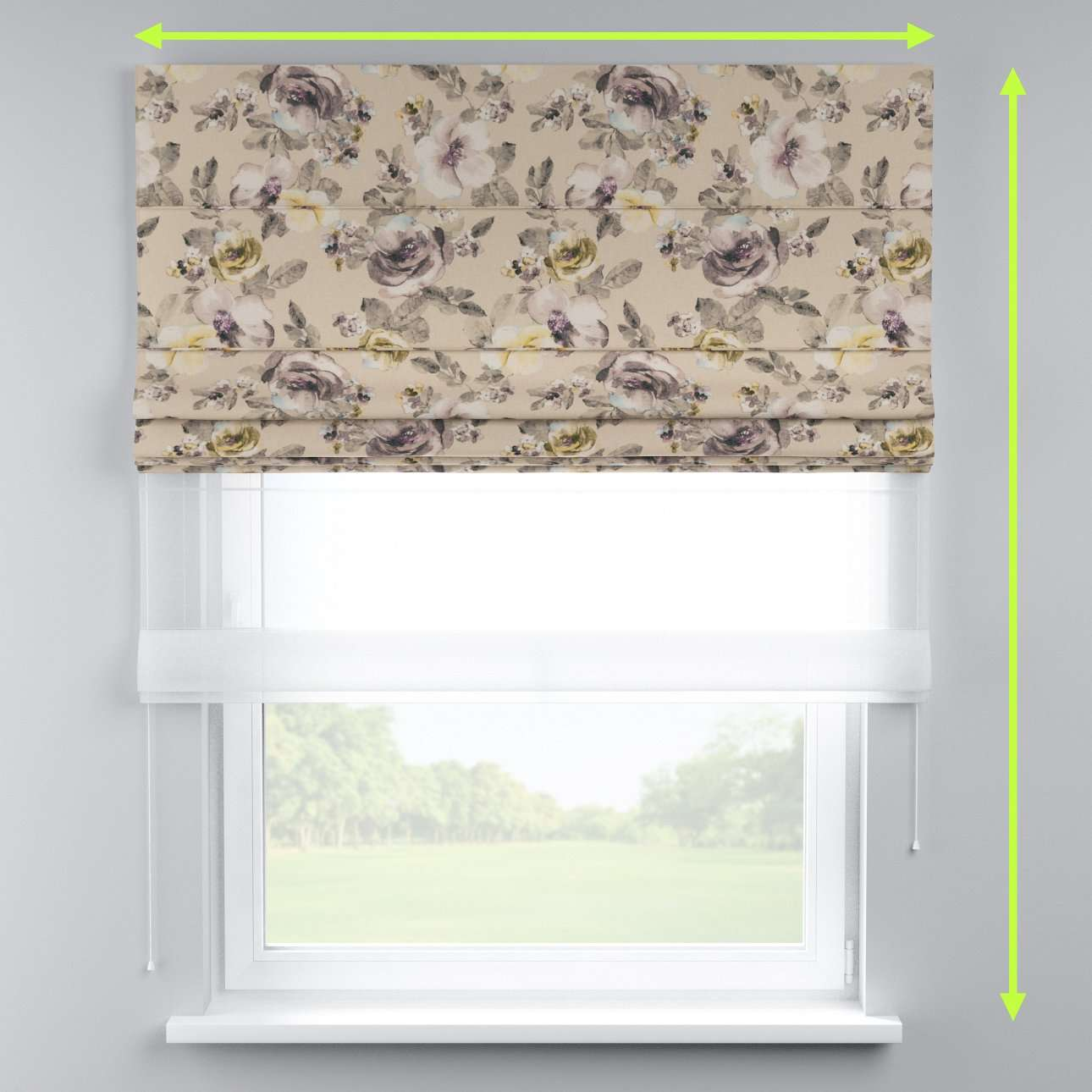 Voile and fabric roman blind (DUO II) in collection Londres, fabric: 140-44