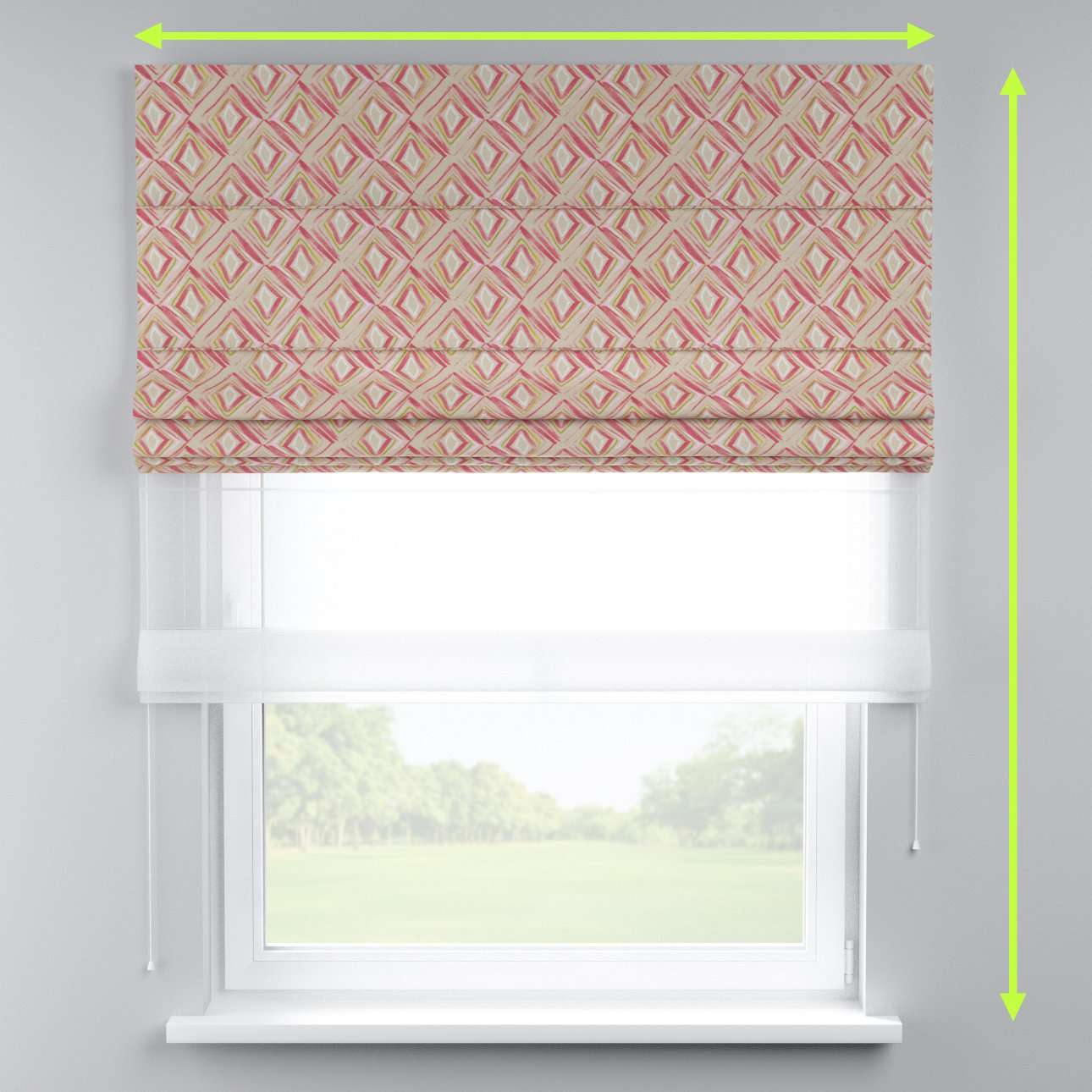 Voile and fabric roman blind (DUO II) in collection Londres, fabric: 140-45