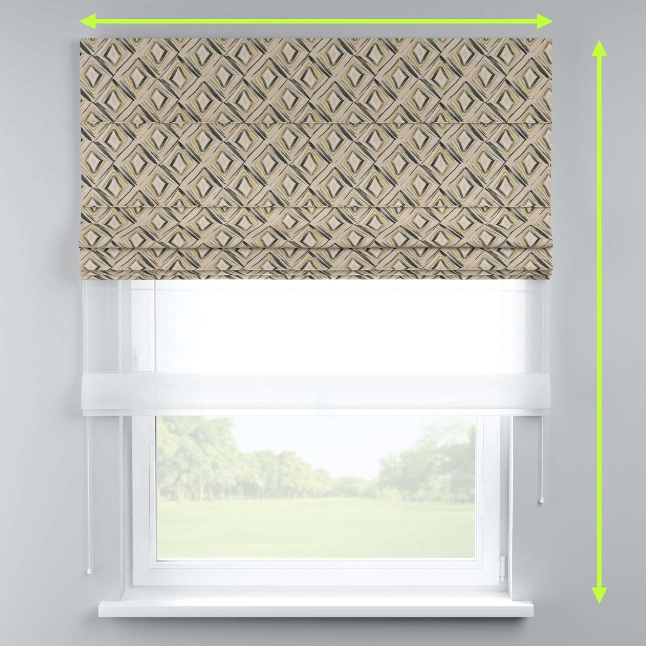 Voile and fabric roman blind (DUO II) in collection Londres, fabric: 140-46