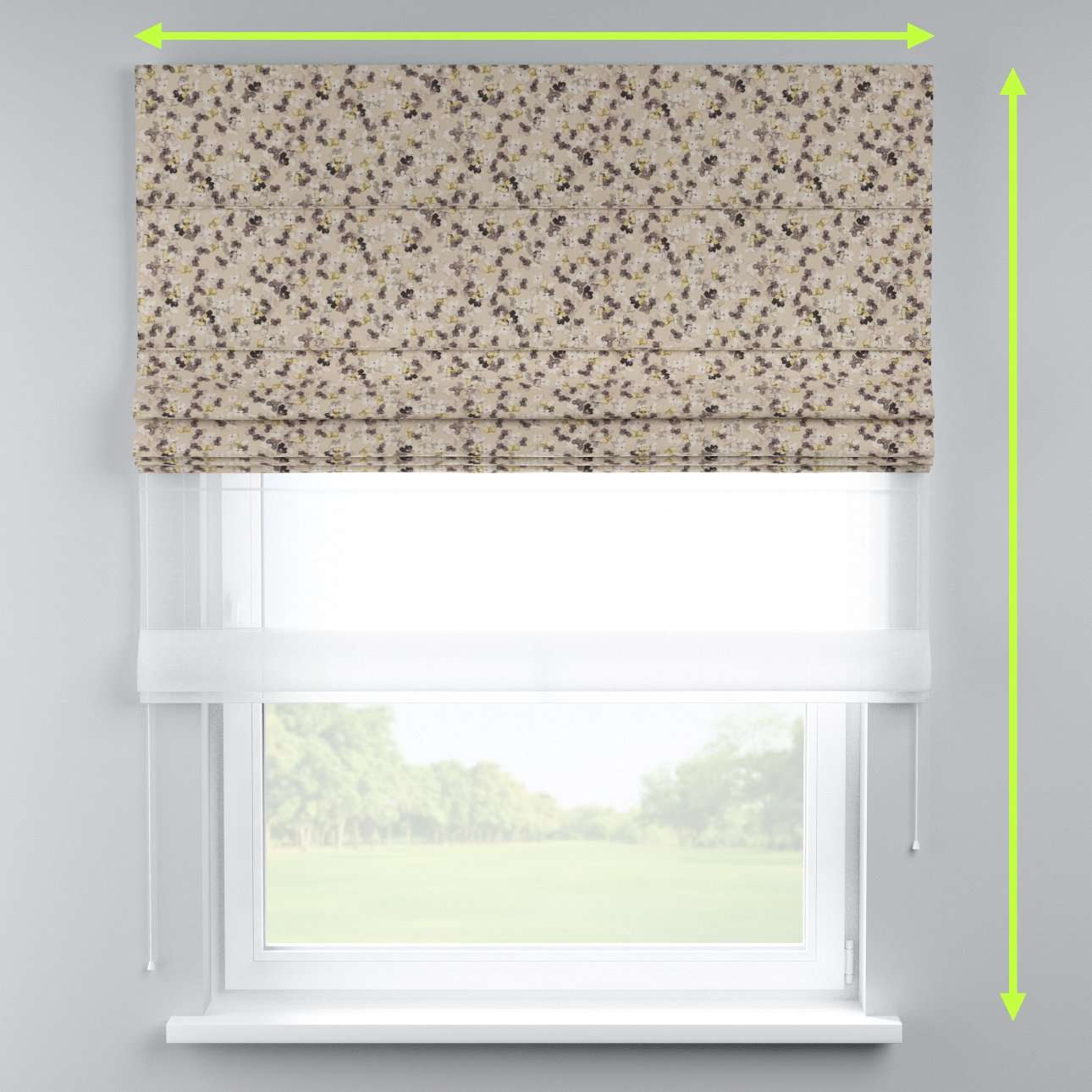Voile and fabric roman blind (DUO II) in collection Londres, fabric: 140-48