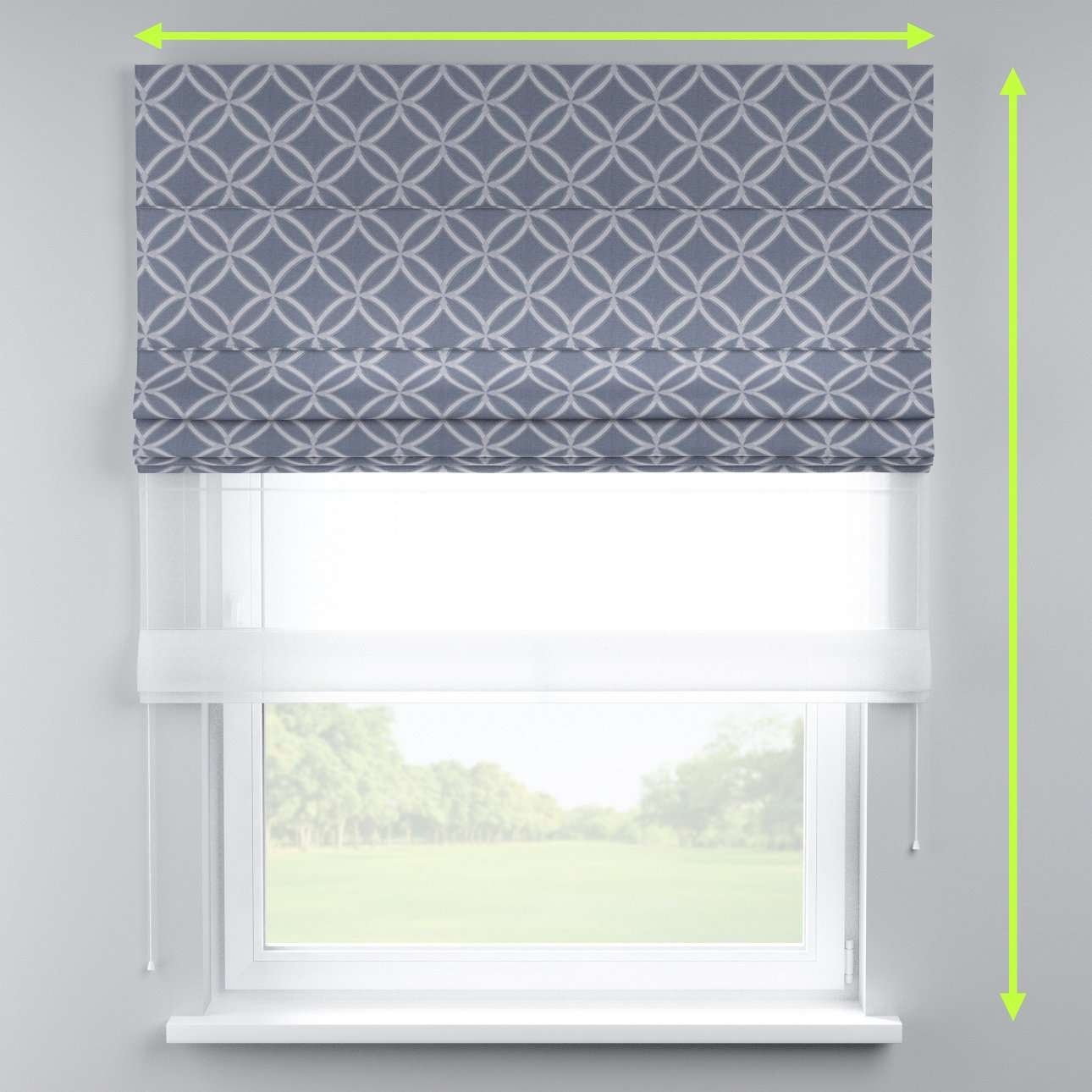 Voile and fabric roman blind (DUO II) in collection Venice, fabric: 140-53